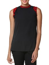 Black Poly Crepe Sleeveless Top - By