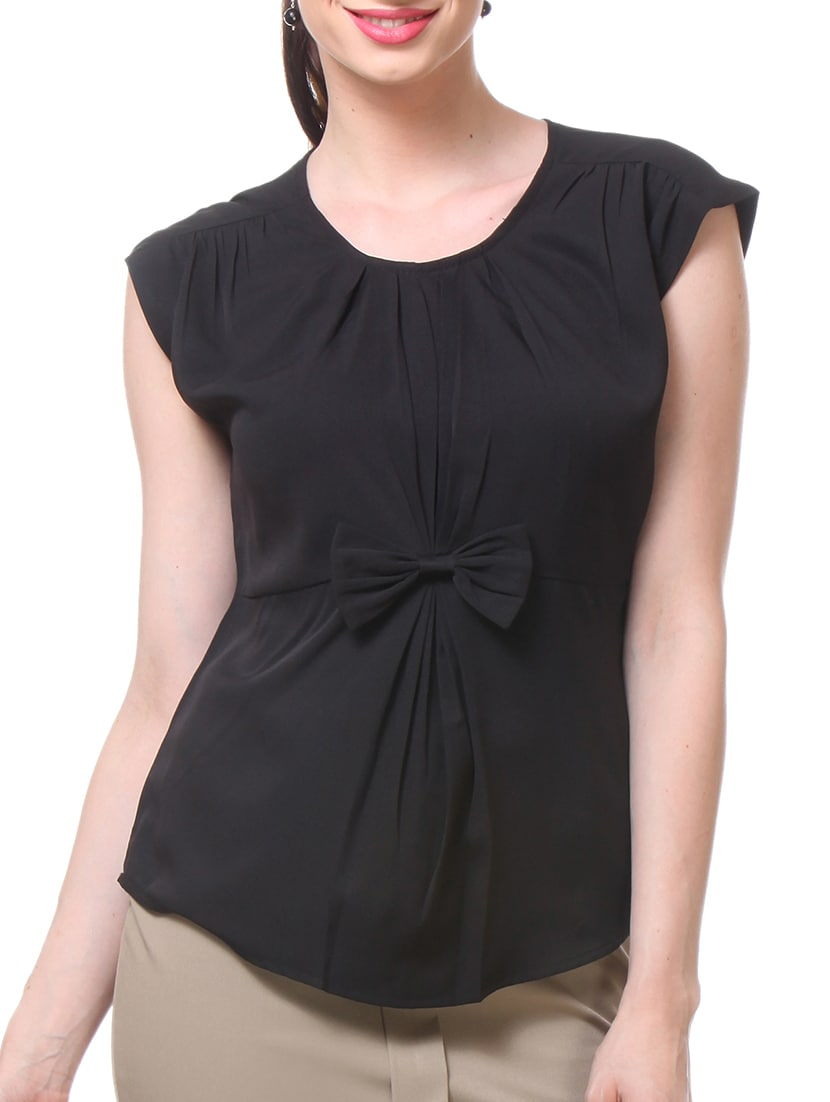 Black Polycrepe Bow Top - By