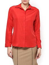 Red Poly Crepe Full Sleeved Shirt - By