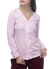 Pink Poly Crepe Cut Away Collared Shirt - By