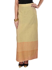 Beige Printed Ankle Length Skirt - 9rasa
