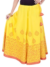 Yellow Printed Long Skirt - 9rasa