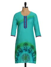 Green Printed Women's Long Kurta - Aaboli