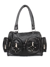 Black Faux Leather Shoulder Bag - By