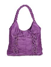 Purple Faux Leather Shoulder Bag - By