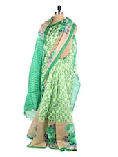 Multi Color Floral And Geometric Print  Saree - Hypno Tex