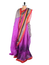 Purple And Pink Printed Saree - Hypno Tex