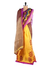 Chevron Border With Floral Print Saree - Hypno Tex