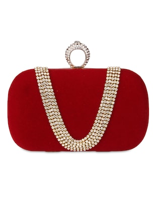 Red Velvet Embellished Box Clutch