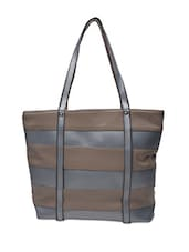 Grey And Beige Faux Leather Handbag - By