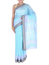 Blue And White Gadwal Cotton Sari - By