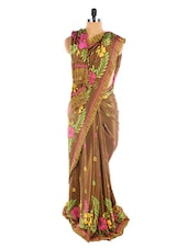 Brown Floral Print Saree - Sixmeter