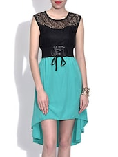 Black And Sea Green Hi-Lo Dress With Belt - By