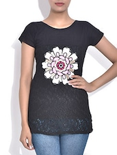 Black Net Top With Floral Applique - By