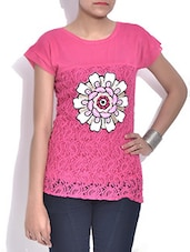 Pink Net Top With Floral Applique - By