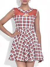 White Checkered Poly Net Sleeveless Dress - By - 9568681