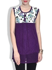 Purple Net Top With Printed Yoke - By
