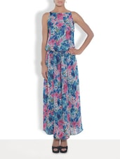 Blue Polygeorgette Printed Maxi Dress - By
