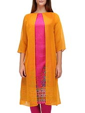 Printed Pink And Yellow Rayon Layered Kurta - By