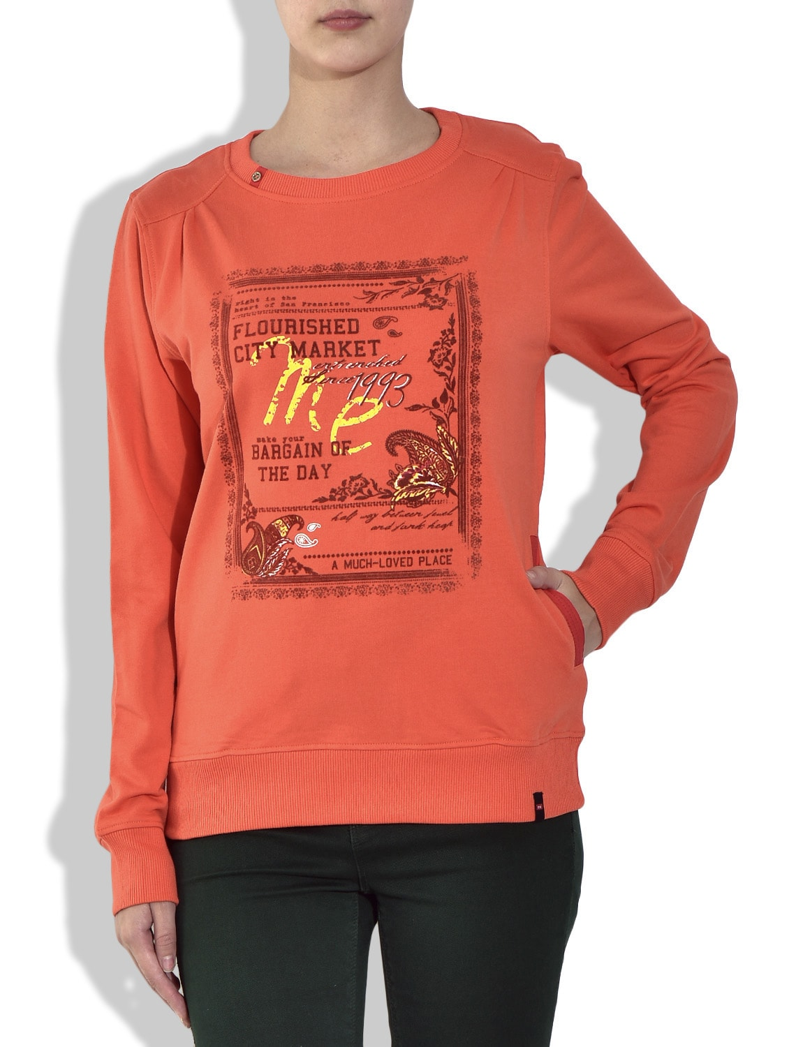 Red Round Neck Full Sleeve Printed Fleece Sweatshirt - By