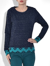 Blue Round Neck Full Sleeve Mix N Match Snow Fleece Pre Winter Top - By