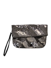 Black And Silver Embroiderd Pouch - Diwaah