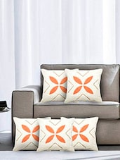 Cream And Orange Cotton Cushion Covers (Set Of 5) - By