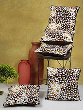 Printed Brown Poly Cotton Cushion Covers (Set Of 5) - By