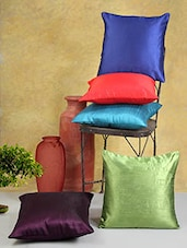 Assorted Solid Color Poly Cotton Cushion Covers (Set Of 5) - By