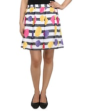 Multicolored Floral N Striped Box Pleated Skirt - By