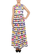 Multicolored Striped N Floral Cut-out Maxi Dress - By