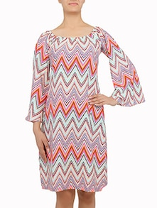 multicolored chevron printed off-shoulder dress