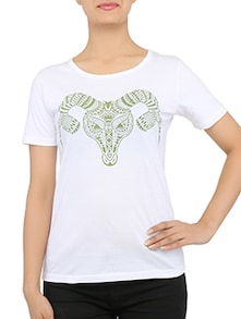 tribal goat printed white cotton T-shirt
