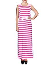 White And Pink Striped Jersey Maxi Dress - By