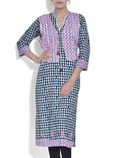 Navy And White Printed Jacket Style Cotton Kurta - By