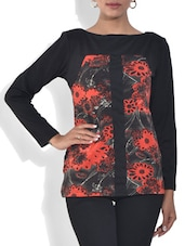 Black And Coral Printed Viscose Top - By