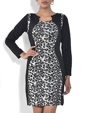Black And Grey Printed Viscose Dress - By - 9572380