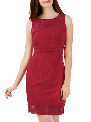 red crepe sheath dress