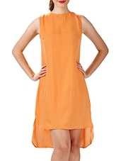 Solid Orange Asymmetrical Cotton Dress - By