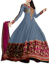 Grey Embroidered Anarkali Suit Set - By