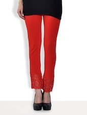 Solid Red Cotton Lycra Leggings With Lace Trim - By