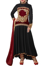 Embroidered Black And Maroon Dress Material - By