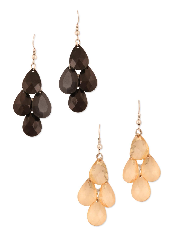 Peach Tear Drop Cluster Earrings - Blend Fashion Accessories