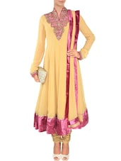 Yellow Georgette Hand Embroidered  Anarkali  Suit Set - By