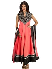 Pink Georgette Hand Embroidered  Anarkali  Suit Set - By