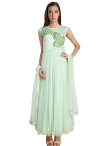 Mint Green Embroidered applique worked net Anarkali Suit Set