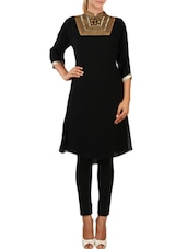 Black Georgette Hand Embroidered  Anarkali  Suit Set - By