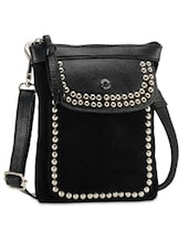 Studded Black Leather Sling Bag - Phive Rivers