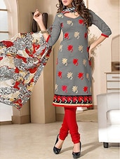 Grey Chanderi Cotton Embroidered Salwar Suit Set - By