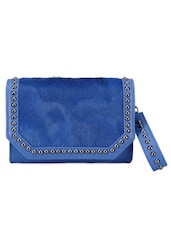 Dark Blue Studded Leather Wallet Clutch - Phive Rivers